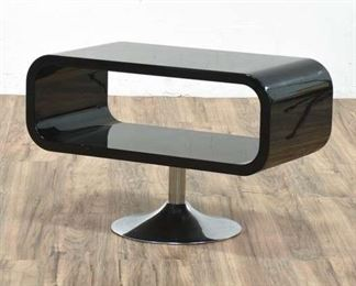 Atomic Mod Style High-Gloss Black Open End Table