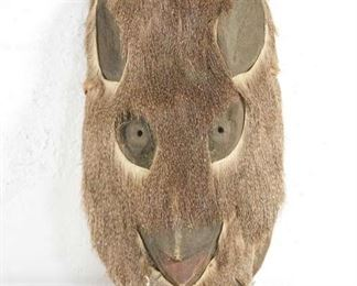 Hand Crafted Animal Hide Tribal Mask