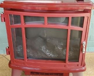 Lipstick red portable fireplace w. remote