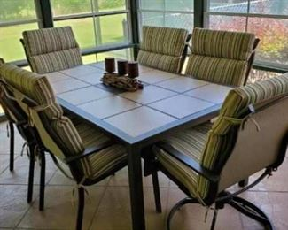 Extremely nice tile-top patio table w chairs
