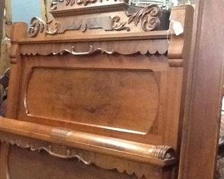 Antique Handcarved Full Sized Bed ( head/ foot boards w/ rails)