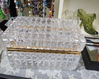 French cut crystal lidded box/casket.