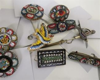 Antique micro mosaic pins including a rare sword stick pin.
