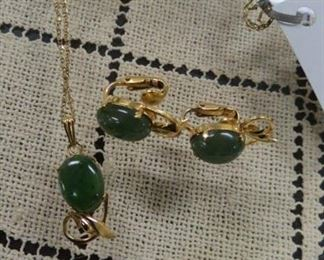 Gold filled and jade pendant necklace and earrings.