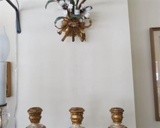 Beautiful pair of French wood and metal wall sconces.