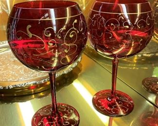 "2 Festive balloon wine glasses - $5 - 8 3/4""H"