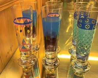 "Set of 6 colorful glasses - $5 - 4 1/2"" Tall"
