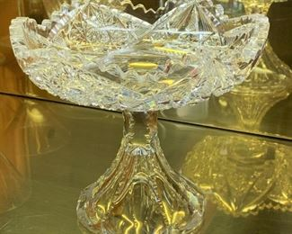 Cut glass compote - $10