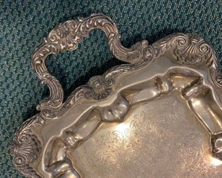 "Alternate view - large silverplate tray - $20 - 27"" x 11"""