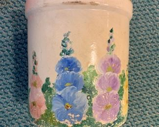 "Hand painted small crock - $5 - 6.5""H"