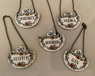 Porcelain liquor bottle tags $15