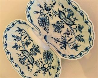 "Meissen Blue Onion Shell Divided Dish - $50 - 11"" x 9.5"""