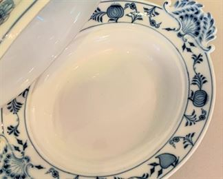 "Alternate view - Meissen Blue Onion Lidded Vegetable Bowl - $100 - 13 1/2"" x 10 1/4""."