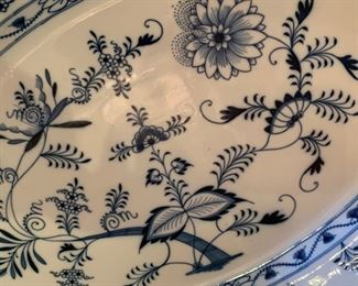 "Alternate view - Huge Meissen Blue Onion Platter - $75 - 24"" x 16"""
