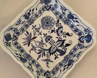 "English ""Blue Meissen"" Square Dish - $10 - 8"""