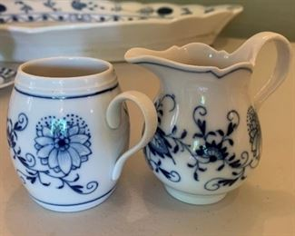 "Meissen Blue Onion Creamer and Sugar - $20 - Creamer 3 1/2"" to top of handle."