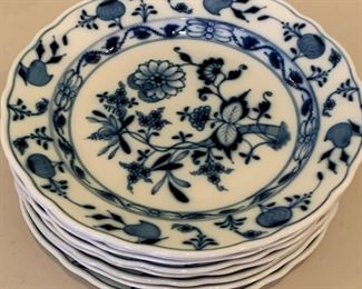 7 Meissen Blue Onion Dinner Plates with various markings - $50 - 10""