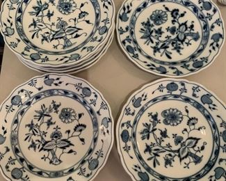Alternate view - 7 Meissen Blue Onion Dinner Plates with various markings - $50 - 10""