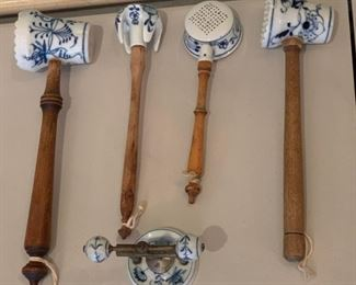 Porcelain Blue Onion Pattern Utensils - $30 - Longest is 12""