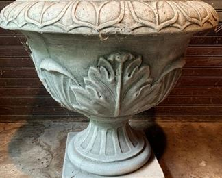 "Large concrete planter  - $35 - 21""H x 21""D"