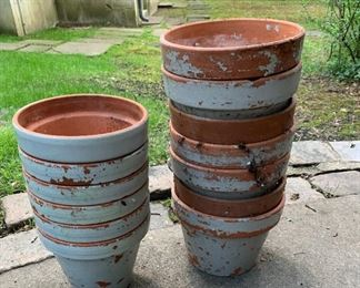 "Lot of painted terra cotta pots - $5 - 7"" and 8""."