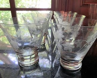 "Alternate view - 8 Short and 8 Tall Etched Glasses - Short 4""H x 4""W - Tall 5 1/2""H x 3 3/4"" - All $30"