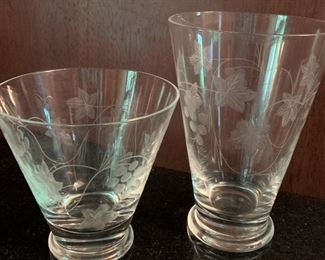 "8 Short and 8 Tall Etched Glasses - Short 4""H x 4""W - Tall 5 1/2""H x 3 3/4"" - All $30"