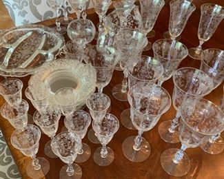 "Large Lot of Antique Etched Crystal Glassware - $200 - Chips on 12 glasses - 14 Large Goblets at 8"", 10 Small Goblets at 6"", 8 Apertif at 6"", 7 Plates at 7"", 1 Pitcher at 8 1/2"", 1 Tray at 12"" x 11"""