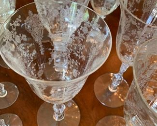 "Alternate view - Large Lot of Antique Etched Crystal Glassware - $200 - Chips on 12 glasses - 14 Large Goblets at 8"", 10 Small Goblets at 6"", 8 Apertif at 6"", 7 Plates at 7"", 1 Pitcher at 8 1/2"", 1 Tray at 12"" x 11"""