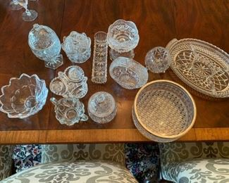 "Lot of Cut and Pressed Glass Items - $20 - Oval Tray far right is 14 1/2"" for scale"