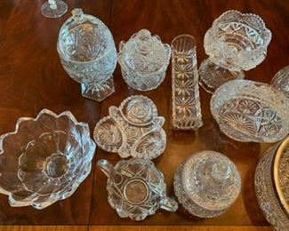 "Alternate view - Lot of Cut and Pressed Glass Items - $20 - Oval Tray far right is 14 1/2"" for scale"