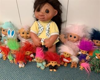 "Alternate view - Lot of Troll Dolls - Largest is 17"" - $25"