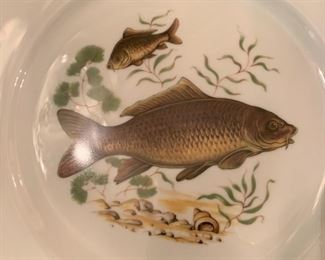 "Alternate view - Set of JWK Bavaria Fish Plates and Platters - $300 - 24 Plates at 10"", 4 Platters at 15""x11"""