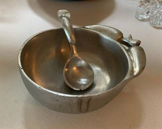 Small Pewter Dish with spoon - $5
