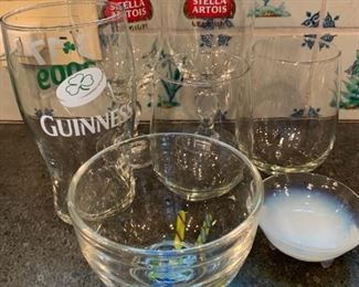 Assorted glassware $10
