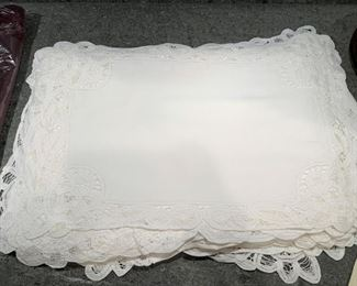 Lot of 18 white scalloped crochted lace placemats with 18 napkins - $50