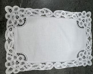 Alternate view - Lot of 18 white scalloped crochted lace placemats with 18 napkins - $50