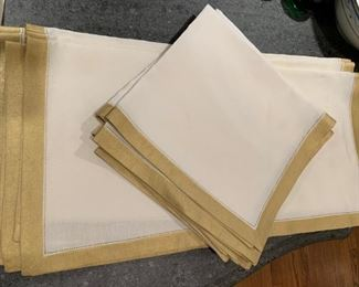 Lot of 14 Linen with Gold Border Napkins - $35