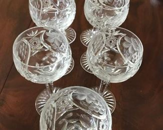 "7 Beautiful long stemmed Cut Glass Goblets - 8 1/4"" - $125"