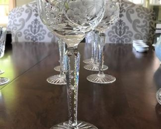 "Alternate view - 7 Beautiful long stemmed Cut Glass Goblets - 8 1/4"" - $125"