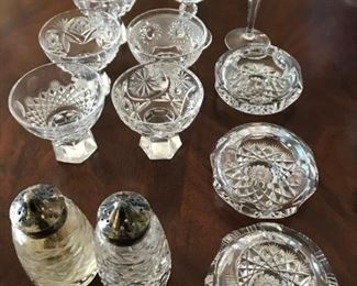 "Collection of cut glass items - Tallest glass measures 4 1/8"" Tall - $35"