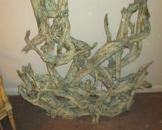 Mid Century Driftwood Table and Decorative Decor
