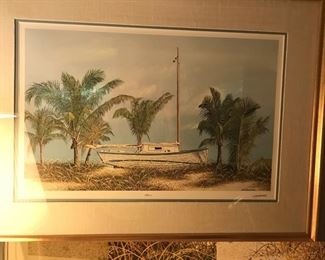 Beached by Bob Timberlake, large framed signed print