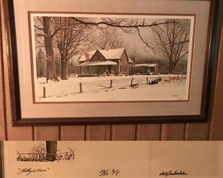 Gilley's Cows by Bob Timberlake, large framed signed artist proof print