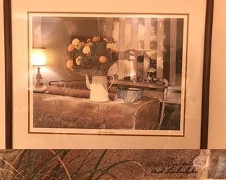 Mrs. Leonard's Marigolds by Bob Timberlake, large framed signed poster