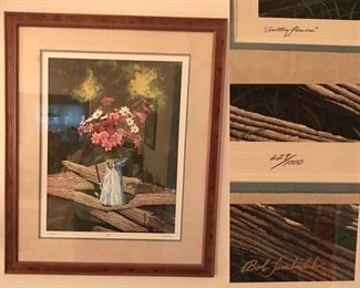 Country Flowers by Bob Timberlake, large framed signed print