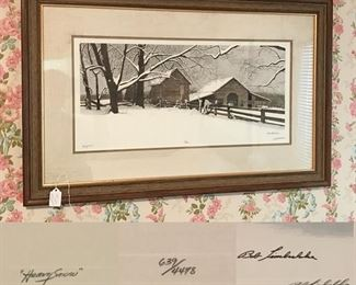 Heavy Snow by Bob Timberlake, large signed framed print