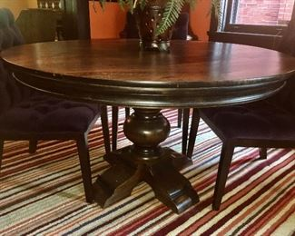 Arhaus pedestal table with distressed top