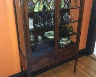 Antique wavy glass display cabinet