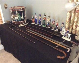 Sword canes , repro English drum ,